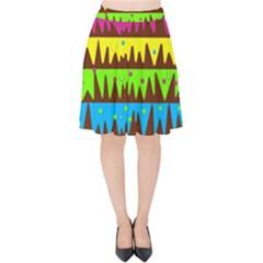 Illustration Abstract Graphic Velvet High Waist Skirt