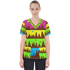 Illustration Abstract Graphic Scrub Top