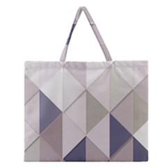 Background Geometric Triangle Zipper Large Tote Bag