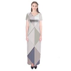 Background Geometric Triangle Short Sleeve Maxi Dress