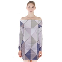 Background Geometric Triangle Long Sleeve Off Shoulder Dress