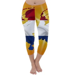 Holland Country Nation Netherlands Flag Capri Winter Leggings