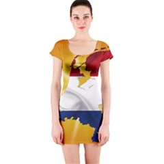 Holland Country Nation Netherlands Flag Short Sleeve Bodycon Dress