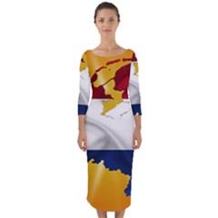 Holland Country Nation Netherlands Flag Quarter Sleeve Midi Bodycon Dress