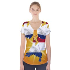 Holland Country Nation Netherlands Flag Short Sleeve Front Detail Top