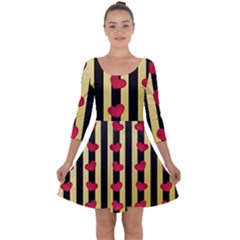 Love Heart Pattern Decoration Abstract Desktop Quarter Sleeve Skater Dress