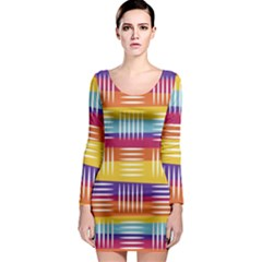 Art Background Abstract Long Sleeve Bodycon Dress