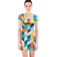 Geometric Retro Wallpaper Short Sleeve Bodycon Dress