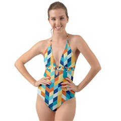 Geometric Retro Wallpaper Halter Cut Out One Piece Swimsuit