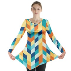Geometric Retro Wallpaper Long Sleeve Tunic