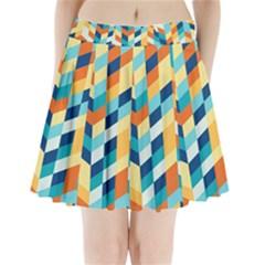 Geometric Retro Wallpaper Pleated Mini Skirt