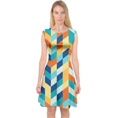Geometric Retro Wallpaper Capsleeve Midi Dress