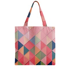 Background Geometric Triangle Zipper Grocery Tote Bag