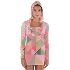 Background Geometric Triangle Long Sleeve Hooded T Shirt