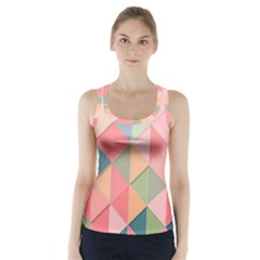 Background Geometric Triangle Racer Back Sports Top