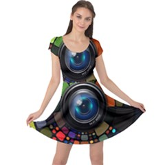 Lens Photography Colorful Desktop Cap Sleeve Dress