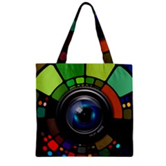 Lens Photography Colorful Desktop Zipper Grocery Tote Bag by Nexatart
