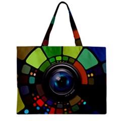 Lens Photography Colorful Desktop Zipper Mini Tote Bag