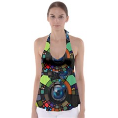 Lens Photography Colorful Desktop Babydoll Tankini Top