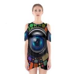 Lens Photography Colorful Desktop Shoulder Cutout One Piece