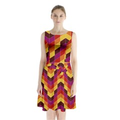 Geometric Pattern Triangle Sleeveless Waist Tie Chiffon Dress