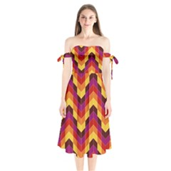 Geometric Pattern Triangle Shoulder Tie Bardot Midi Dress