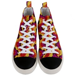 Geometric Pattern Triangle Men s Mid Top Canvas Sneakers