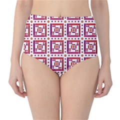 Background Abstract Square High Waist Bikini Bottoms