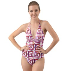 Background Abstract Square Halter Cut Out One Piece Swimsuit