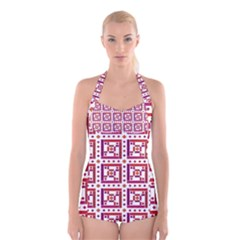 Background Abstract Square Boyleg Halter Swimsuit
