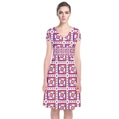 Background Abstract Square Short Sleeve Front Wrap Dress