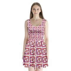 Background Abstract Square Split Back Mini Dress