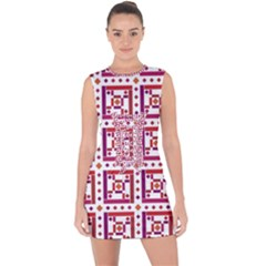 Background Abstract Square Lace Up Front Bodycon Dress