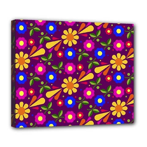 Flower Pattern Illustration Background Deluxe Canvas 24  X 20