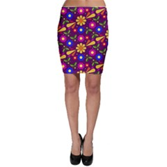 Flower Pattern Illustration Background Bodycon Skirt