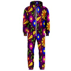 Flower Pattern Illustration Background Hooded Jumpsuit (men)