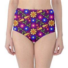Flower Pattern Illustration Background High Waist Bikini Bottoms