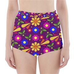 Flower Pattern Illustration Background High Waisted Bikini Bottoms