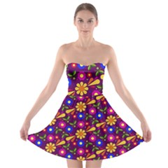 Flower Pattern Illustration Background Strapless Bra Top Dress