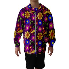 Flower Pattern Illustration Background Hooded Wind Breaker (kids)