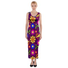 Flower Pattern Illustration Background Fitted Maxi Dress
