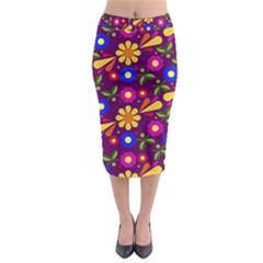 Flower Pattern Illustration Background Midi Pencil Skirt
