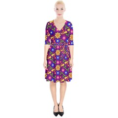 Flower Pattern Illustration Background Wrap Up Cocktail Dress