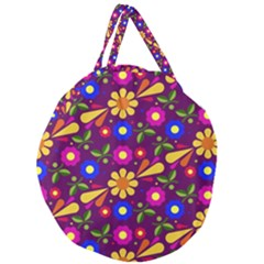 Flower Pattern Illustration Background Giant Round Zipper Tote
