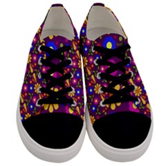 Flower Pattern Illustration Background Men s Low Top Canvas Sneakers