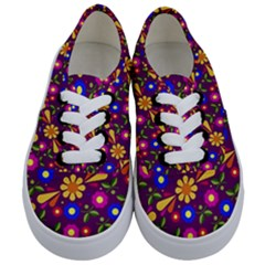 Flower Pattern Illustration Background Kids  Classic Low Top Sneakers