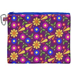 Flower Pattern Illustration Background Canvas Cosmetic Bag (xxxl)