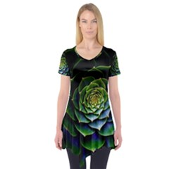 Nature Desktop Flora Color Pattern Short Sleeve Tunic
