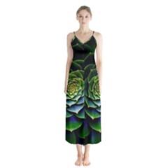 Nature Desktop Flora Color Pattern Button Up Chiffon Maxi Dress