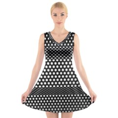 Holes Sheet Grid Metal V Neck Sleeveless Skater Dress